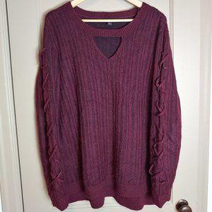 Rock & Republic V Neck Criss X Sweater Burgundy